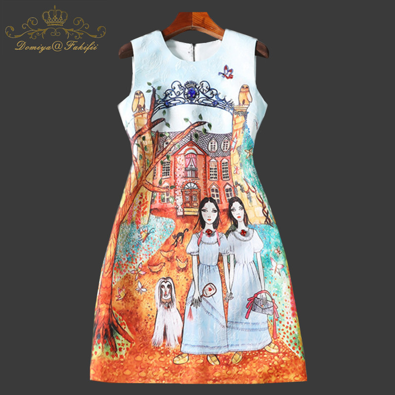 2018 New Fashion Designer Runway Summer Dress Women's Sleeveless Tank Pattern Print Beading Vintage Short Dress Family Dresses high quality women pleated summer dress 2017 new runway designer vintage elegant green lace bird embroidery maxi party dresses