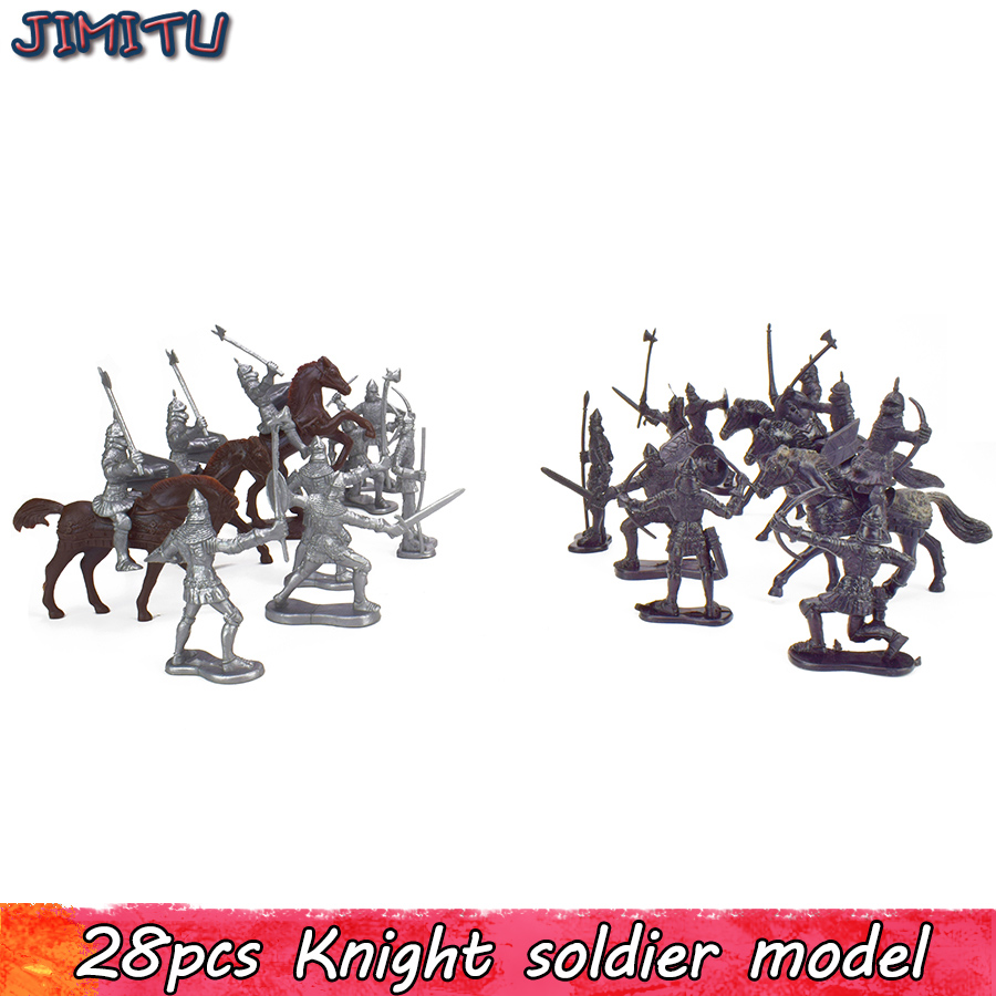 28Pcs Medieval Knights Warriors Horses Kids Toy Soldiers Cavalries and Horses Figures Model Playset Playing on Sand Castles ancient knight 28pcs set soldiers and horses medieval model toy soldiers figures