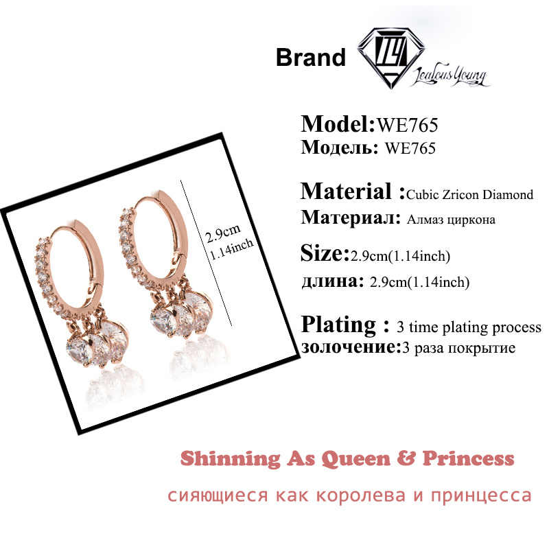 אופנה רומנטי עגול מעגל שיבוץ זירקון עגילי חישוק לנשים עם רוז זהב צבע Cz קריסטל חתונה חישוקי Brincos מתנה