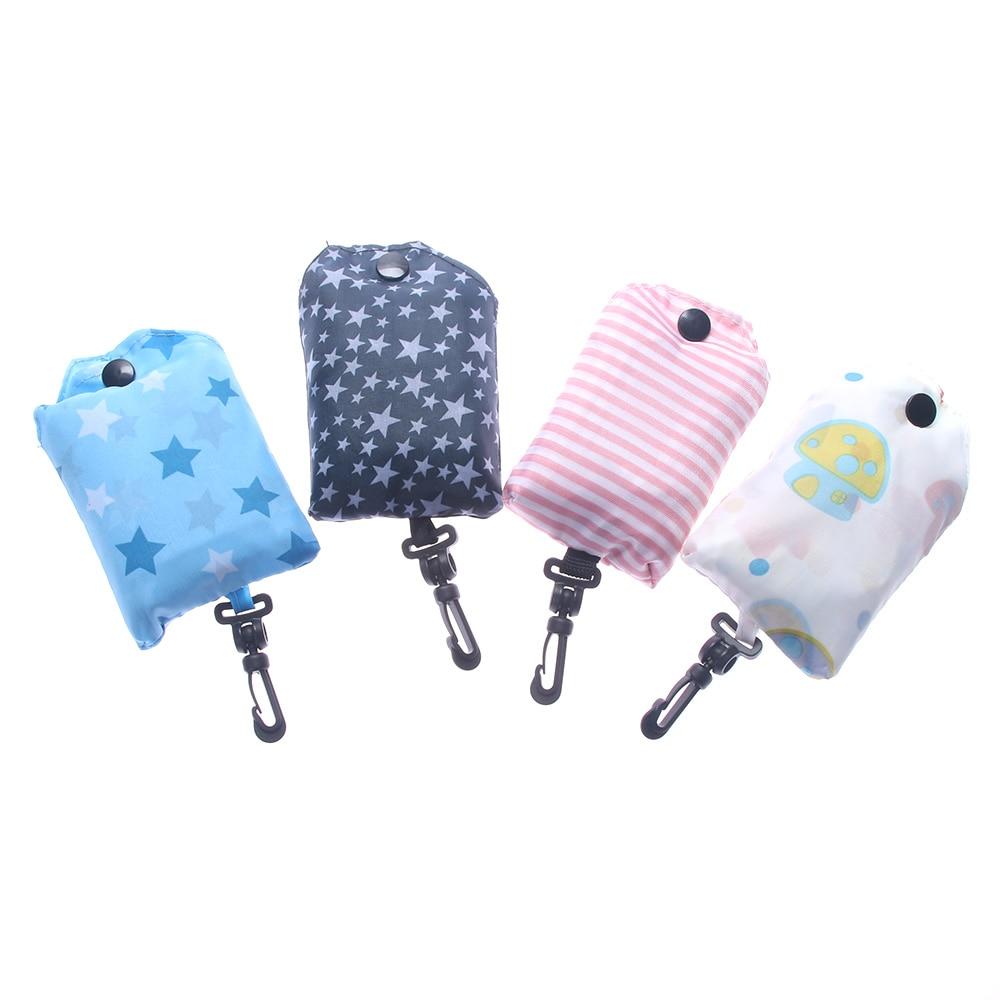 New Folding Basket Storage Handbag Tote Shopping Bag Reusable Pouch Handy Travel Tote Reusable Food Bags