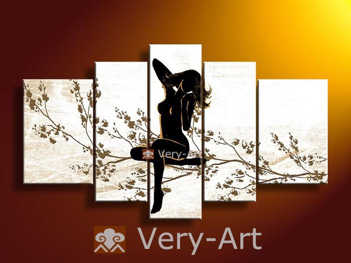 handpainted 5 piece black white modern abstract oil painting on canvas wall art naked flower girl pictures for living room - Simple Shapes Wall Design