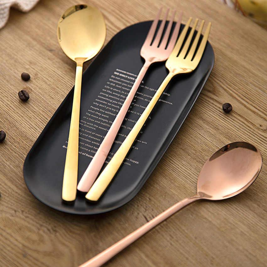 Stainless Steel Dinner Forks Spoon, Fruit Dessert Long 21cm Fork, 20.5cm Soup Spoon Ice Cream Tea Coffee Spoon Home Tableware