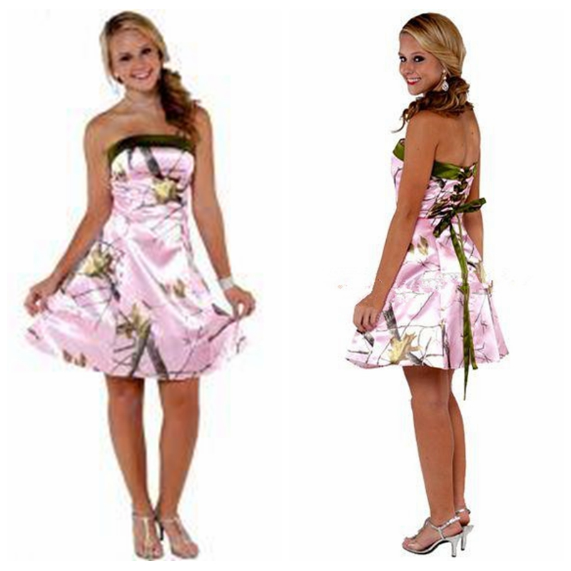 Dress Bridesmaids-Dresses Camo Party-Gowns Pink Short Cheap Strapless Knee-Length A-Line