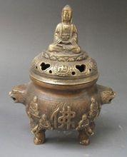 5.6Chinese Bronze carved  Buddha Incense Burners