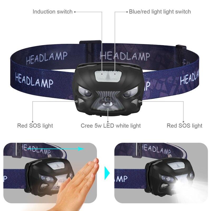 Купить светодиодный налобный фонарь с датчиком движения аккумулятором