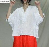 Summer 2019 New Women Tops Korean White Blouse Linen Blouse Women Shirts Korean Basic Tops V Neck Short Sleeve LT799S50