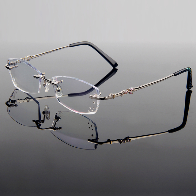 ada0276395 New Faddish Luxury Titanium Alloy Optical Frame Women Style Diamond  Trimming Cut Rimless Spectacles With Gradient