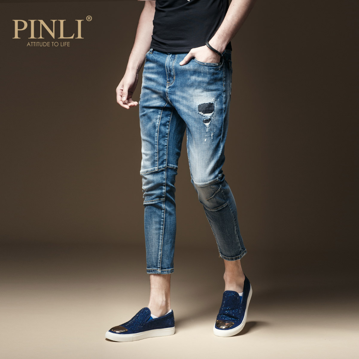 Fake Designer Clothes Jeans Micro Summer Cultivate Morality Play Foot Hole In Nine Minutes Of Pants Men's Trousers D172116004