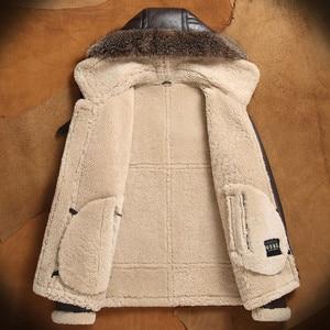Image 4 - men genuine leather jacket man real original ecological sheepskin coat raccoon fur detachable hood winter jackets short design