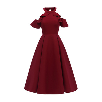 цена на Dressv burgundy evening dress cheap halter neck lace a line short sleeves ruffles wedding party formal dress evening dresses