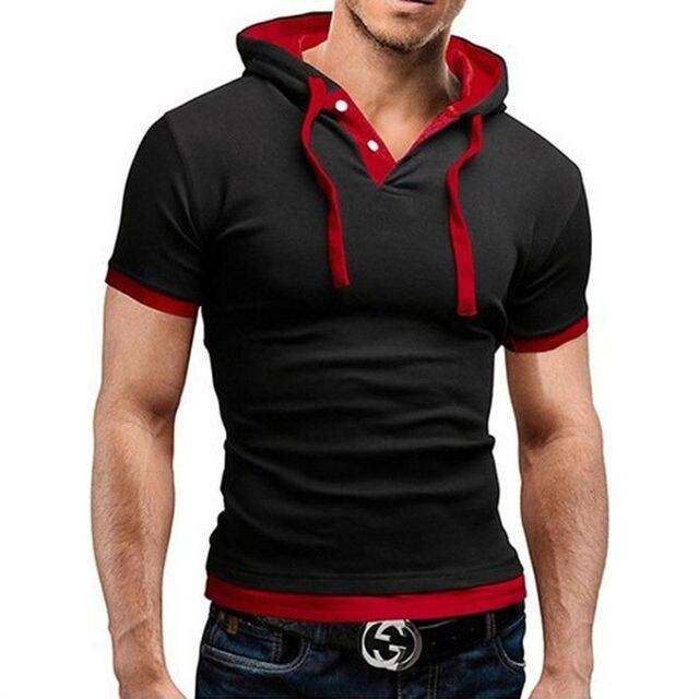 A Camisa dos homens T 2019 Verão Magro Aptidão Sportswer Encapuzados Curto-de Mangas Compridas T homens Camisa Masculina T-Shirt Fino Tshirt homme 5XL