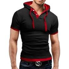 Camiseta para hombre 2019 verano Slim Fitness con capucha de manga corta Camisetas Hombre Camisa Masculina deportiva camiseta delgada camiseta homme 5XL