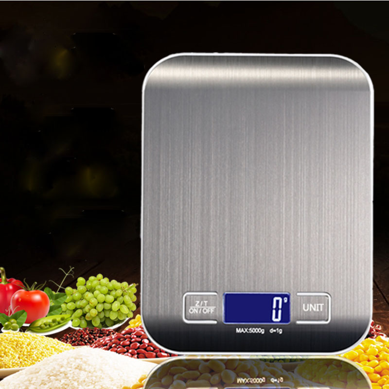 5Kg/10kg 1g Household Kitchen scale alloy Food Diet Postal Scales balance Measuring tool Slim LCD Digital Electronic Weighing
