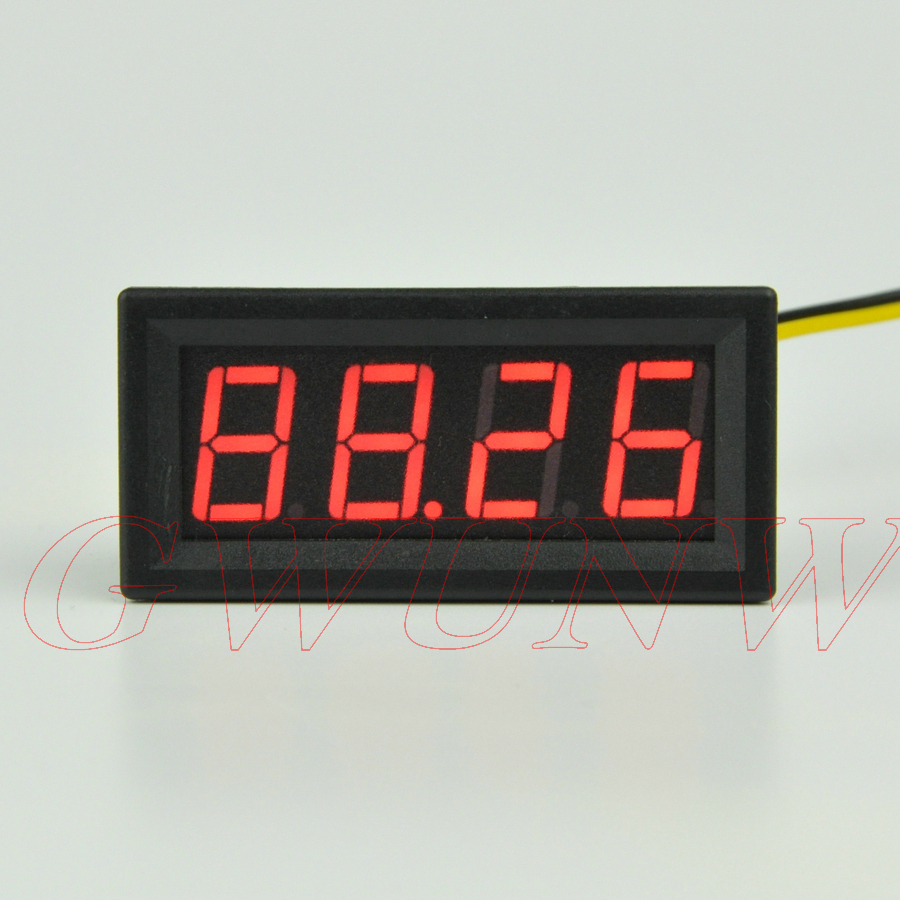 GWUNW BY456V DC 0-99.99V (100V) 4 bit digital voltmeter Panel Meter red blue green 0.56 inch Voltage Tester Meter digital voltmeter dc 4 30v 0 100v 2 3 line digital voltage tester meter blue lcd backlit panel monitor meter