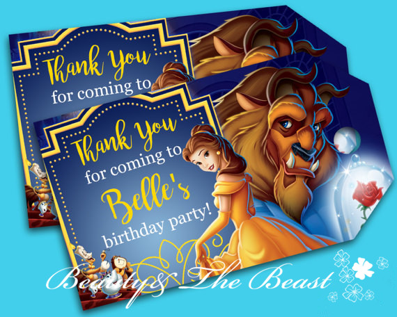Customized Personalized Beauty and the Beast Thank You Tags Birthday Favor Tags Beauty and the Beast Party Tags Kids Party image