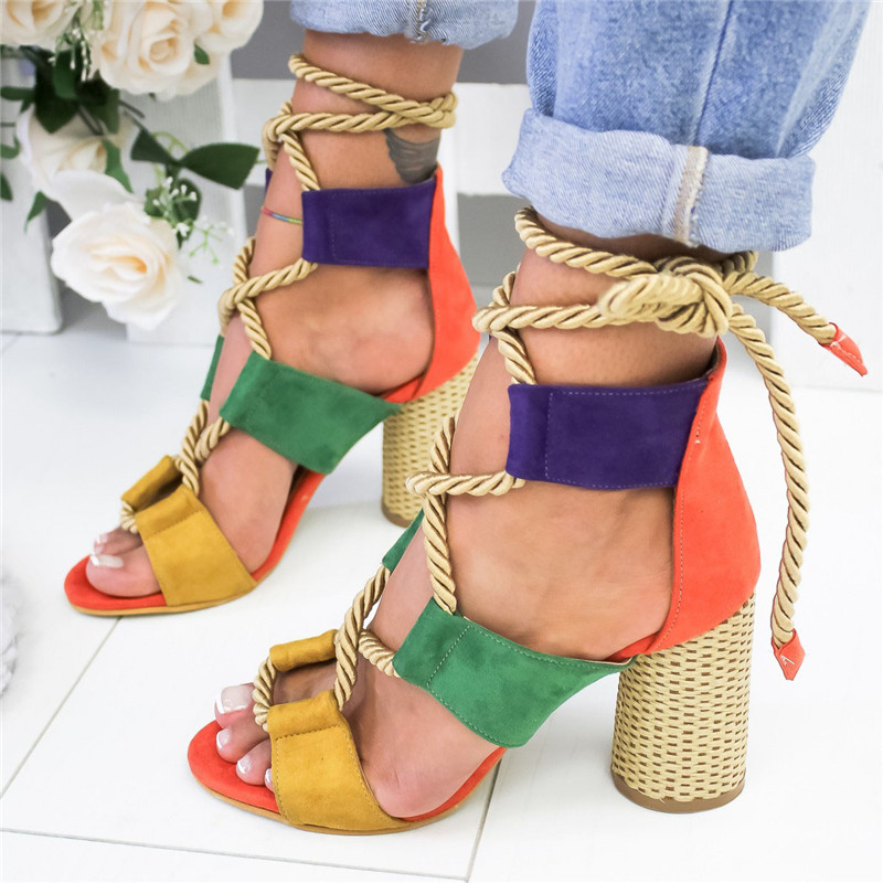 Gladiator Sandals Pumps Hemp-Rope Lace-Up Summer Shoes Woman Heels High-Heels Pointed title=