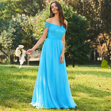 Tanpell off the shoulder long bridesmaid dresses blue short sleeves floor length wedding party gown lady custom bridesmaid dress sky blue stripe off the shoulder 3 4 length sleeves bodycon dress