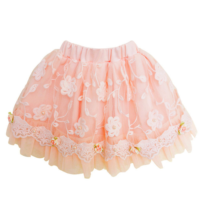 Детские девушки Оборками юбки кружева сетки юбки весна лето девушки одежда Принцесса девушки бальное платье юбки 4-13Y DQ212