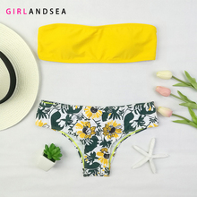 GIRLANDSEA New 2019 Low-waisted Bikini Set Printed Swimsuit