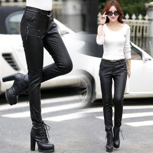 Image 4 - Wiosna jesień dorywczo spodnie skórzane damskie najnowsza obcisła PU skóra stylowy zamek moda ołówek spodnie Skinny fit dla kobiety z paskiem
