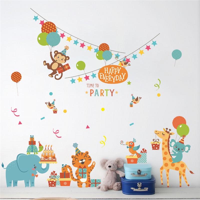 Cartoon balloon happy animal party wall stickers kindergarten children's room baby bedroom diy removable wallsticker murals