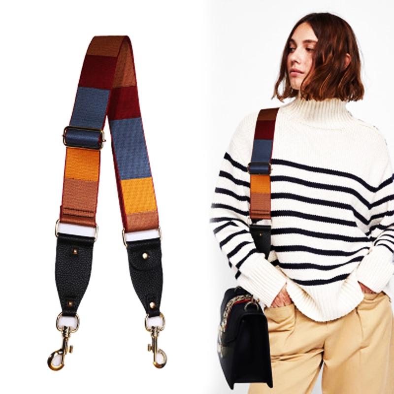 2019 New Fashion Colorful Handbags Handles Striped Canvas Belts Women Bags Strap Accessories Leather Rivet Icon Parts KZ151365