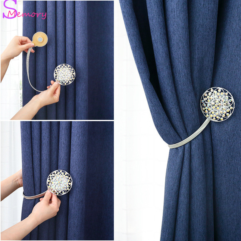 Round Metal Magnetic Curtain Buckle Tieback Drapery Holdback Clip Home Decor 1pc