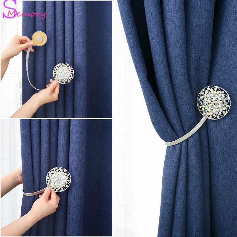 Crystal Round Curtains Tieback Holder Magnet Buckle Clips Magnetic Shower Curtain Strap Accessories Home Decoration