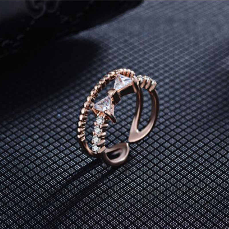 Anenjery Schöne Mode Dazzling Zirkon Bowknot Micro CZ Ringe Für Frauen 925 Sterling Silve Schmuck Doppel Schicht Ring S-R329