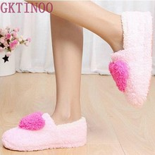 Retail!!! Lovely Ladies Home Floor Soft Women indoor Slippers Outsole Cotton-Padded Shoes Female Cashmere Warm Casual Shoes(China)
