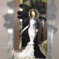Блестящее черное и белое длинное платье со стразами и перьями женский певец, танцевальный сценический вечерний костюм DJ374