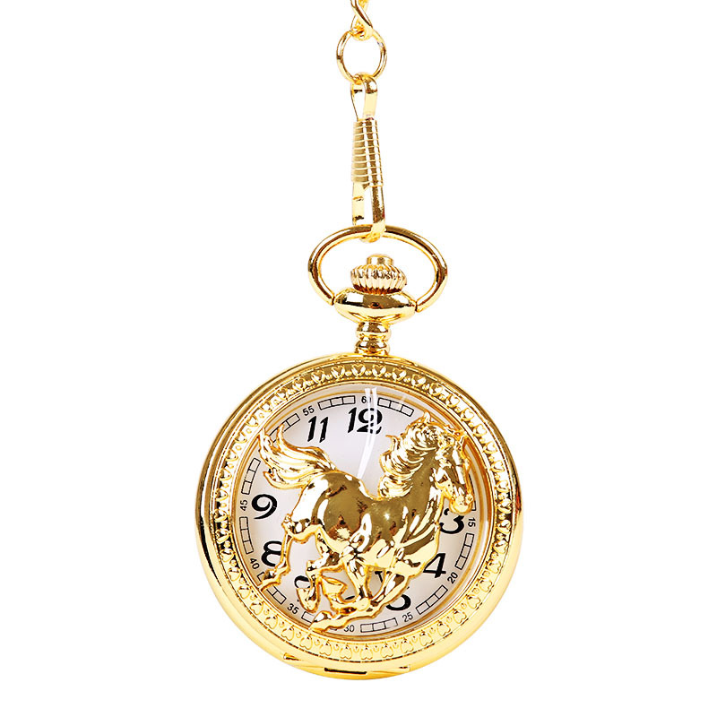 Luxury Glossy Gold And Silver Horse Three-dimensional Pattern Perspective Pocket Watch With Chain Accessories Pocket Watch