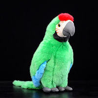 12 Lifelike Handcrafted Great Green Macaw Plush Toys Soft Parrot Plush Dolls Simulation Animal Stuffed Toys For Kids