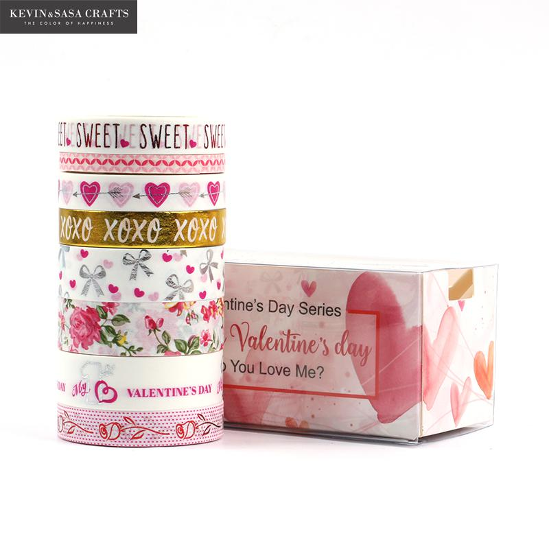 8Pcs Washi Tape Set Valentine's Day Stationery Diy Scrapbooking Photo Album School Tools Kawaii Scrapbook Paper Stickers Gift