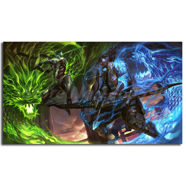 Us 3 06 49 Off Genji Vs Hanzo Overwatchs Dragon Art Wallpapers Canvas Painting Print Living Room Home Decor Modern Wall Art Oil Painting Poster In