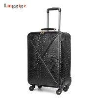 20 Inch Rolling Luggage Cabin Women Suitcase Crocodile Pattern PU Leather Bag Wheel Carrier Trolley Case