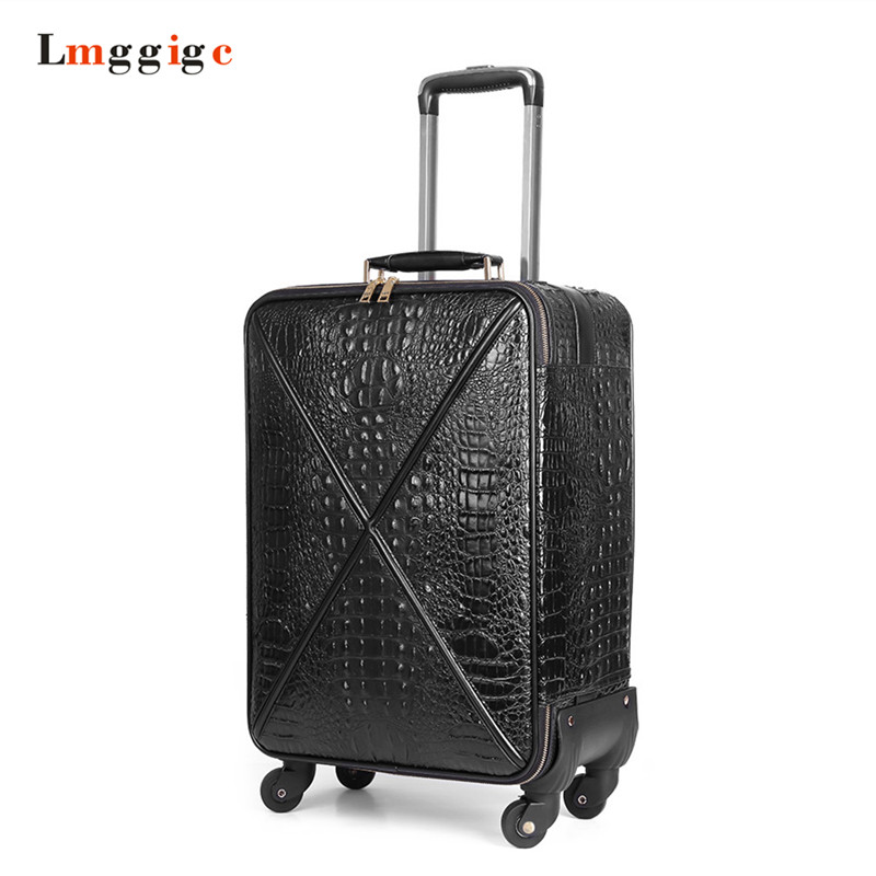 20 inch Rolling Luggage,Cabin Women Suitcase,Crocodile Pattern PU leather bag,Wheel Carrier,Trolley Case, Carry-On ,Boarding Box 12mm waterproof soprano concert ukulele bag case backpack 23 24 26 inch ukelele beige mini guitar accessories gig pu leather