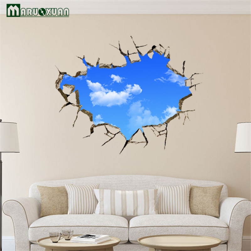 vinilos paredes maruoxuan d sky and cloud scenery window background wall stickers bedroom living room