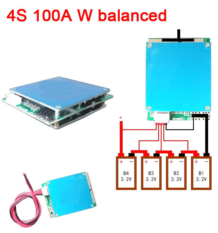 4S cell 12V 100A Lifepo4 lithium iron phosphate BMS battery protection board w balance High Current FOR Car start Inverter