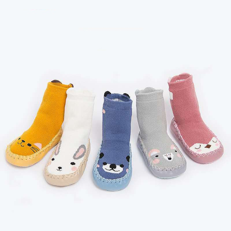 Mother & Kids Winter Baby Socks Newborn Baby Boys Girls Enfant Leg Warmers Cartoon Cute Warm Floor Socks Anti-slip Leather Baby Step Socks