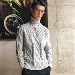 100% hand made pure wool turtleneck knit men fashion twist solid short pullover sweater customized