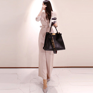 Image 4 - H Han Queen Elegant Belted Waist Business Jumpsuits Women 2019 New Notched Neck Wide Leg Long Playsuits Casual Work Wear Rompers