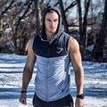 Mens Muscle Tank Tops Con Capucha de Tiburón Chaleco Singlets Stringer Culturismo Fitness Sin Mangas Cremallera Camisetas de 3 Colores