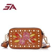 SA Flowers flap Bags Mini Shoulder Bags With Chain Drawstring Small Cross Body Bags Pearl Bags fashion girl travel mini