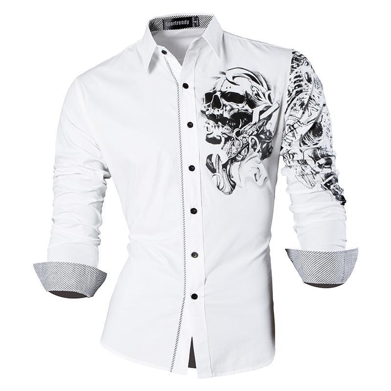 Sportrendy Men's Shirt Dress Casual Long Sleeve Slim Fit Fashion Dragon Stylish JZS042 White
