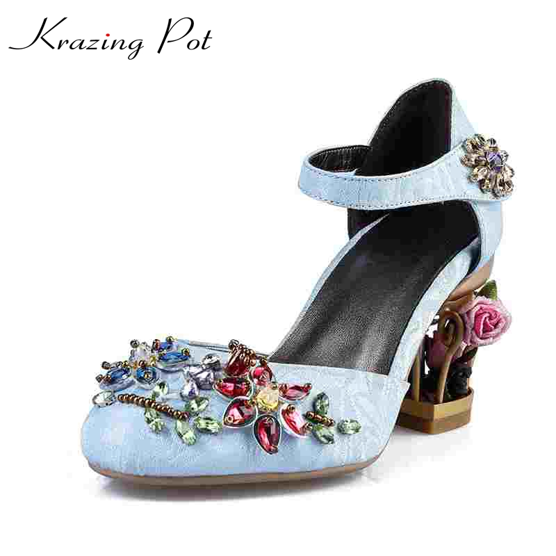 Krazing Pot design fashion brand shoes luxury large size flowers heel diamond high heels women pumps wedding crystal sandals L90
