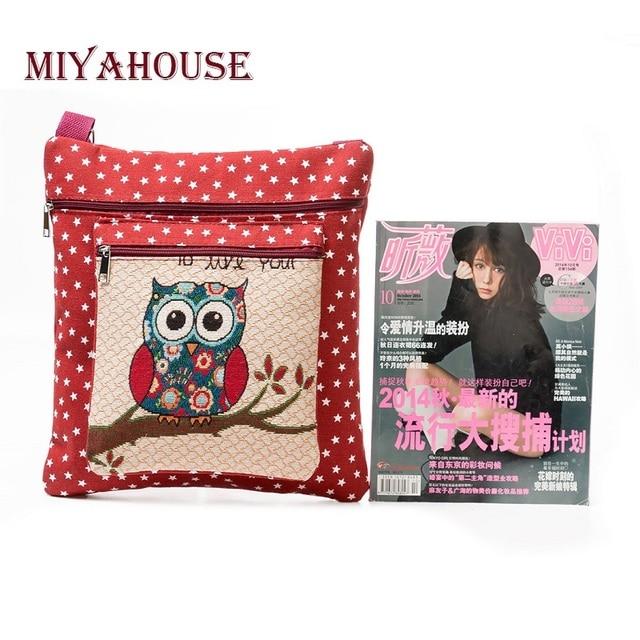 Casual Cartoon Printed Canvas Shoulder Bag Women Embroidery Owl Crossbody Bag Stars Print Messenger Bag 3