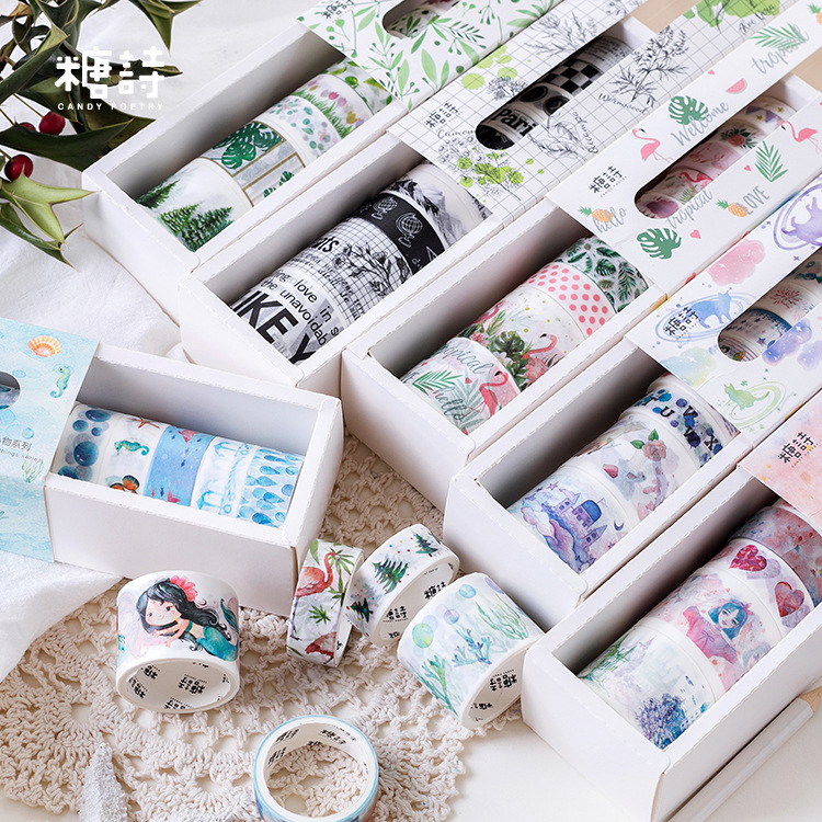 AAGU 10PCS/Set Paper Box Package Washi Tape Lot Scrapbooking Decorative Adhesive Tape Japanese Masking Tapes Washi Tape SetsAAGU 10PCS/Set Paper Box Package Washi Tape Lot Scrapbooking Decorative Adhesive Tape Japanese Masking Tapes Washi Tape Sets