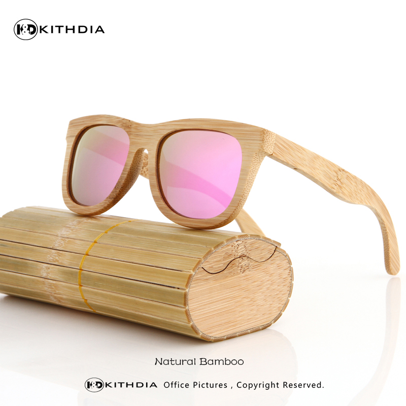 KITHDIA Bamboo Sunglasses Men Wooden Sunglasses polarized Brand Designer Mirror Original Wood Sun Glasses Oculos zonnebril