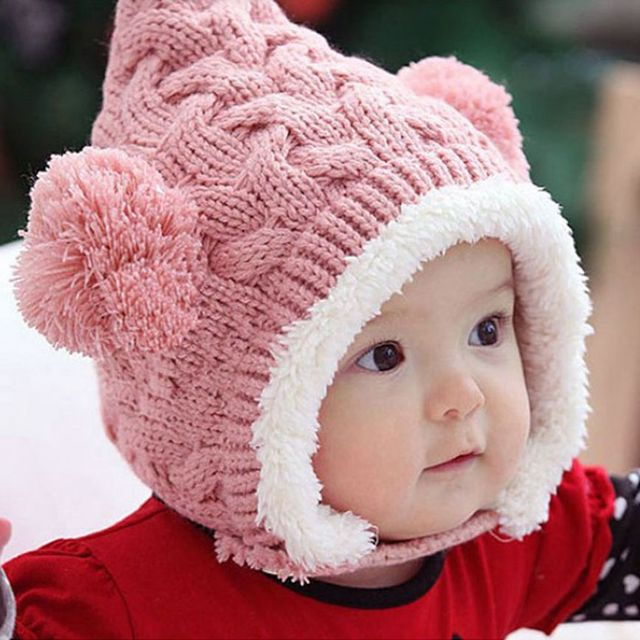102afccf9a2 Excellent Lovely Knitting Wool Winter Hat Kid Baby Cute Dual Balls Girl Boys  Keep Warm Beanie